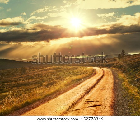 Road in Norway mountains - stock photo