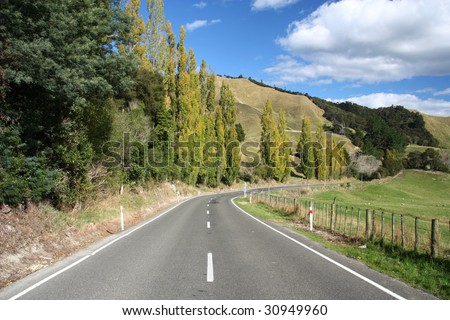 Road in rural, hilly area of Canterbury, New Zealand