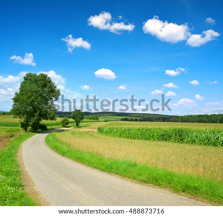 Road in rural landscape in Czech Republic.