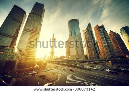 road in Shanghai lujiazui financial center, China - stock photo