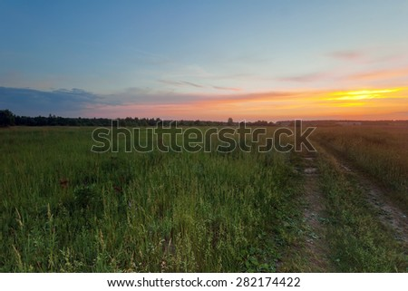 Road in summer sunset field - stock photo