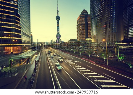road in sunset time, Shanghai lujiazui financial center  - stock photo