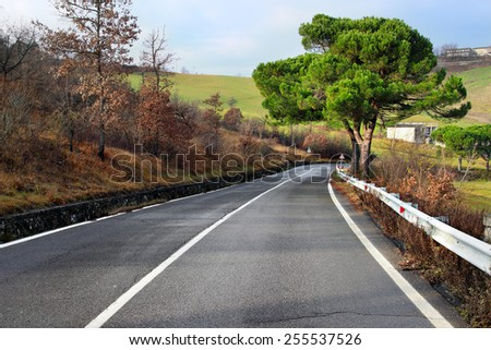 Road in the Apennines mountains, Italy - stock photo