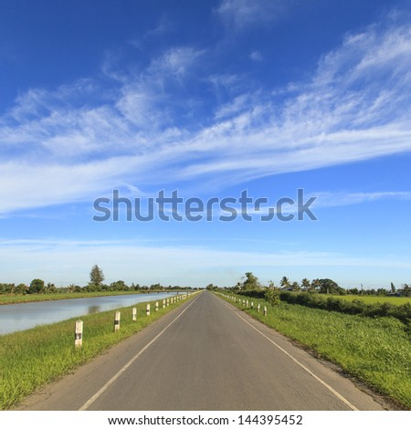 Road in the countryside with blue sky