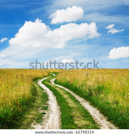 road in the fields - stock photo