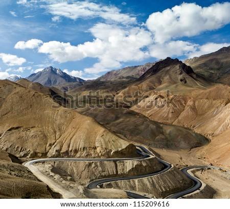 Road in the Himalayas mountains (Leh-Kargil, India ) - stock photo
