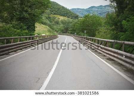 road in the mountains of Tuscany, Italy - stock photo