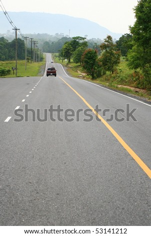 Road in the National Park, Thailand - stock photo