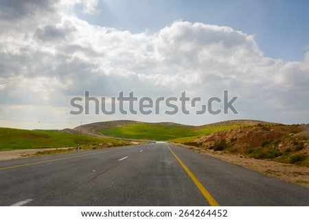 Road in the Palestinian Authority from Hebron to South Israel - stock photo
