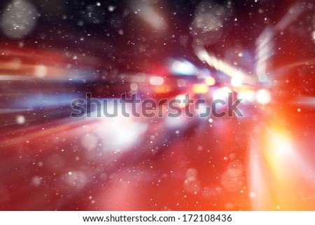 road in winter night, traffic jams, snow city - stock photo