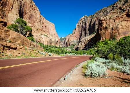 Road into Kolob Canyons section of Zion National Park - stock photo