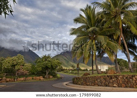 Road into the West Maui Mountains from lahaina - stock photo