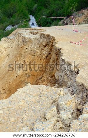 Road landslide for flood - stock photo