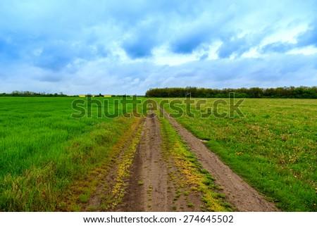 Road lane and deep sky in Hungary - stock photo