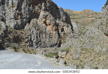 Road leading through a gorge near Preveli, Crete