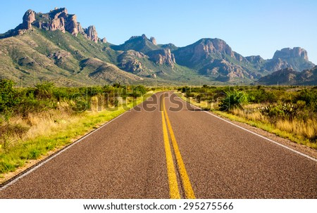 Road Leading to Big Bend National Park - stock photo
