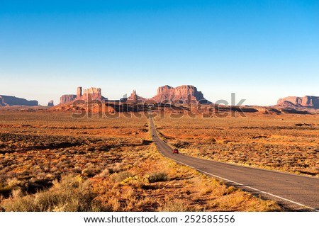 Road leading to Monument Valley  - stock photo