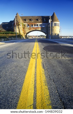 Road leading to Narragansett Pier on Scenic Route 1S, RI - stock photo