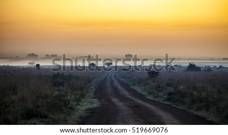 Road leading toward Nairobi in African wilderness before dawn