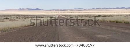Road leads into horizon, panorama - stock photo