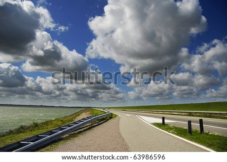 Road leads to a coastline, Netherland