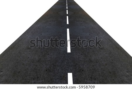 road made in 3d isolated over a white background - stock photo