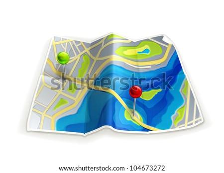 Road map, bitmap copy - stock photo