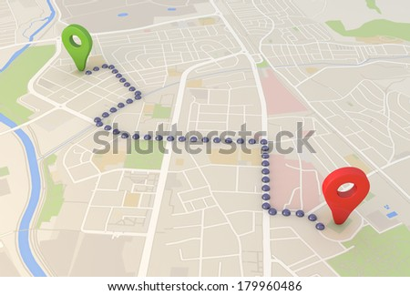 road map with Pin Pointers 3d rendering image - stock photo