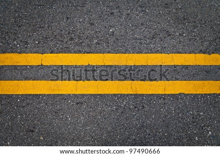 Road Marking - Double Yellow Lines - stock photo
