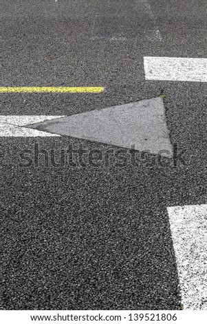 road marking on an airstrip background - stock photo