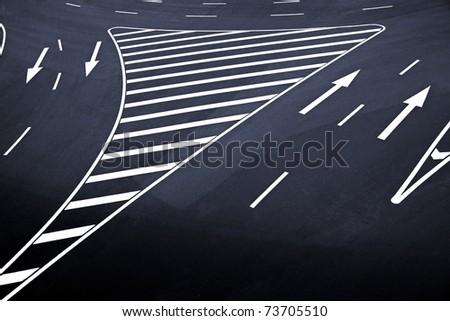 Road markings - stock photo