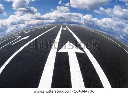 Road markings and lines / photography of road markings and traffic symbol on surface road  - stock photo