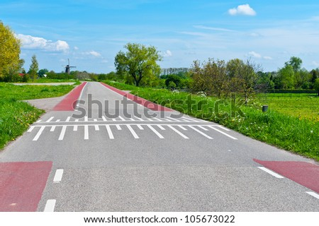 Road Markings for Bicyclists on the Road in Holland - stock photo