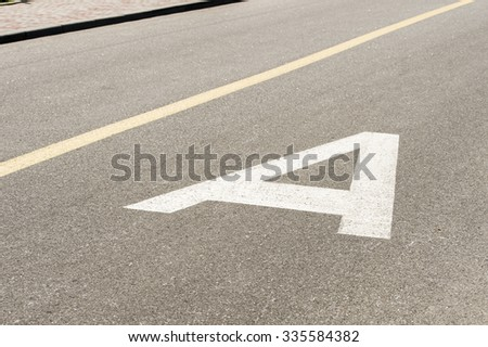 road markings for public transport - stock photo