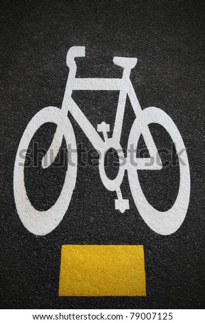 Road Markings of a Newly Painted Bicycle Lane - stock photo