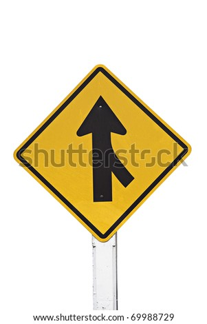 Road Merge Sign on white - stock photo