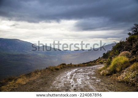 Road, Mountain, Clouds - stock photo