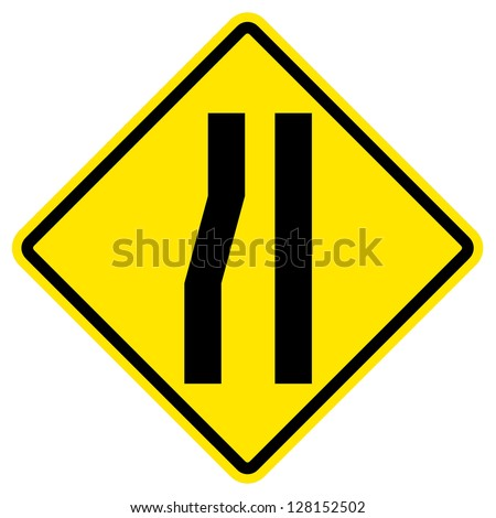 Road narrows merge right sign isolated on a white background - stock photo