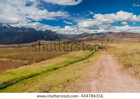 Road near Maras village, Sacred Valley, Peru - stock photo