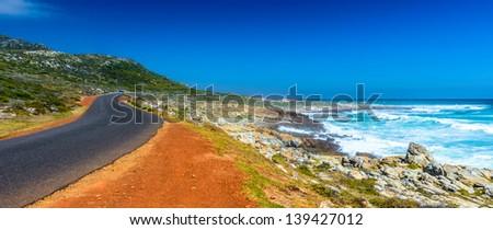 Road near the Atlantic Ocean Coast - stock photo