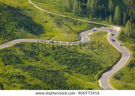 Road of a high mountain pass - stock photo