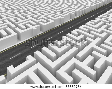 Road on labyrinth - stock photo