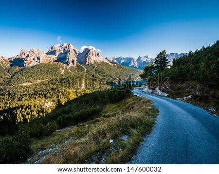 Road on Monte Piana, Dolomites - stock photo