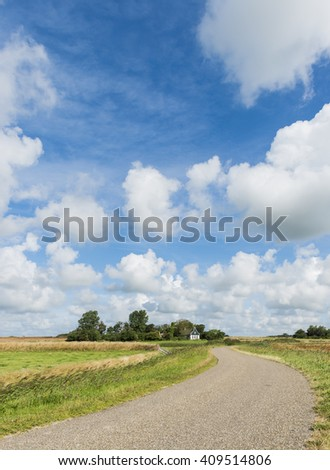 Road on the island of Texel with meadows and a picturesque house in the background.
