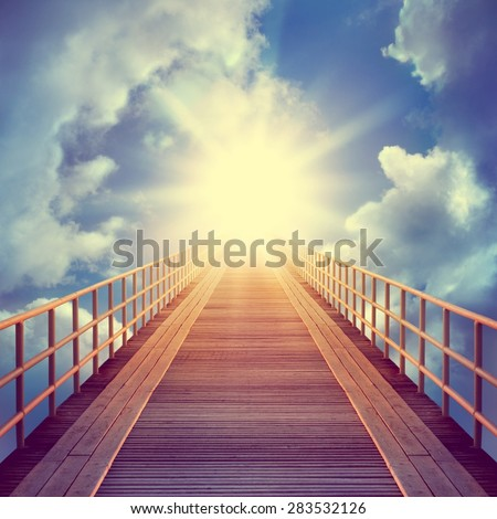 Road on the sky. Religion, philosophy, and psychology items. Retro stale. - stock photo