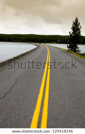 road on Yellowstone Lake in Wyoming in the United States of America