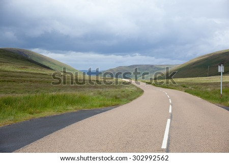 Road over the hills on Isle of Arran, Scotland - stock photo