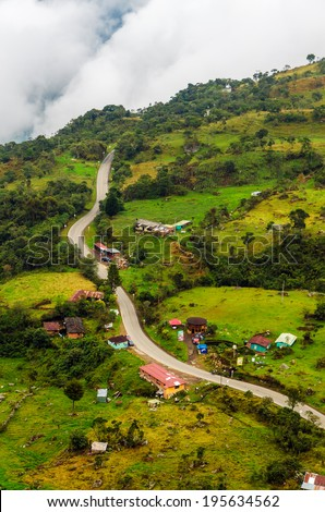 Road running the a high altitude valley in Cundinamarca, Colombia - stock photo