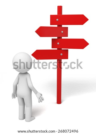 Road sign/A 3d people standing with a road sign. 3d image. Isolated white background - stock photo