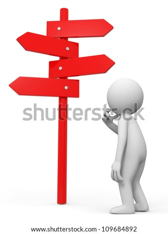 road sign /a people is standing in front of a road sign thinking - stock photo
